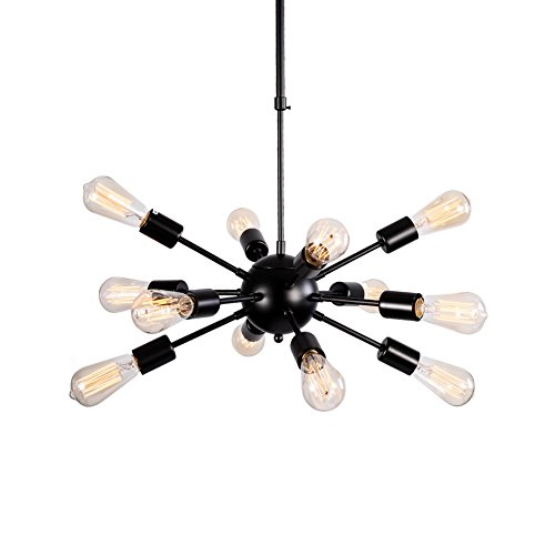 Aero Snail Black Retro Metal Industrial Chandelier Fixture Ceiling Lamp Pendant Hanging Light 12 Lights (Arm Wires PRE-CONNECTED)