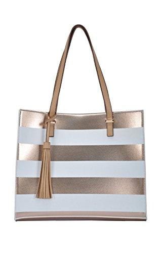 (Madison West Arianna Tote Handbag: White/Gold - White/Rose Gold BGW-8560)