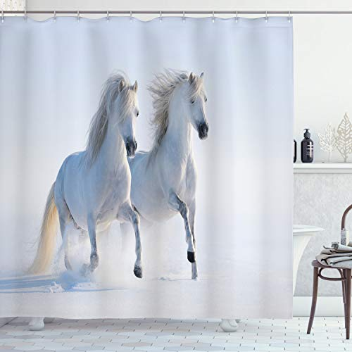 """Ambesonne Horses Shower Curtain, Galloping Rare Spotted Horses on Snow Field Dominant Genes Albino Different Animals Print, Cloth Fabric Bathroom Decor Set with Hooks, 70"""" Long, White"""