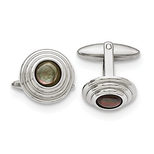 - Men's Black Mother of Pearl Stainless Steel 16mm Round Cuff Links