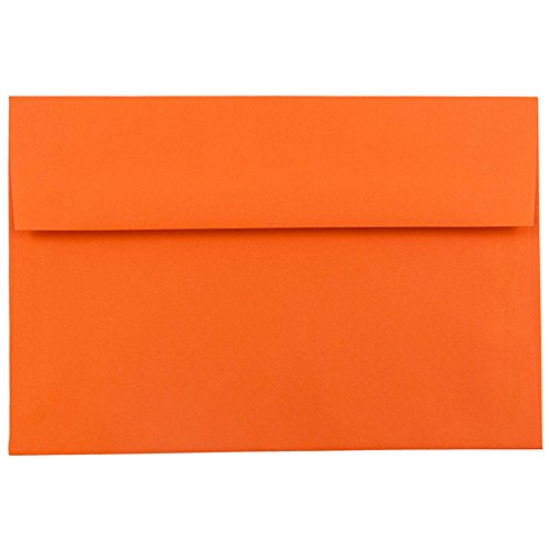 JAM PAPER A7 Colored Invitation Envelopes - 5 1/4 x 7 1/4 - Orange Recycled - 50/Pack