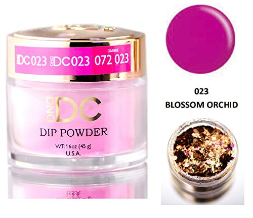 DND DC Pinks DIP POWDER for Nails 1.6oz, 45g, Daisy Dipping (with bonus side Glitter) Made in USA (Blossom Orchid (023))