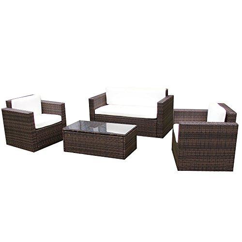 Gartenmöbel Garten Lounge Sitzgruppe Rattan Cannes brown günstig ...