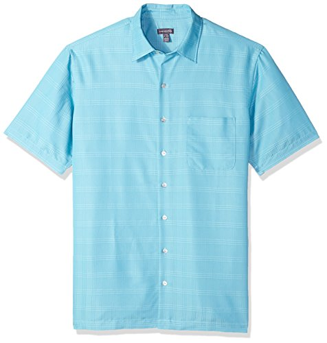 Van Heusen Men's Size Big and Tall Air Short Sleeve Button Down Poly Rayon Stripe Shirt, Aqua Delphinium, 4X-Large