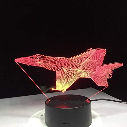 3D F16 Fighter Jet Night Light LED Lamp Changes Colors with Remote Included