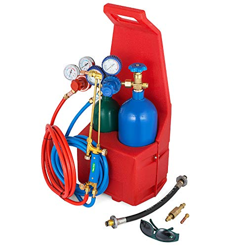 Mophorn Professional Portable Welding/Cutting/Brazing Outfit Torch Tool Kit w/Refillable Propane Oxygen Tanks with Plastic Carrying Stand