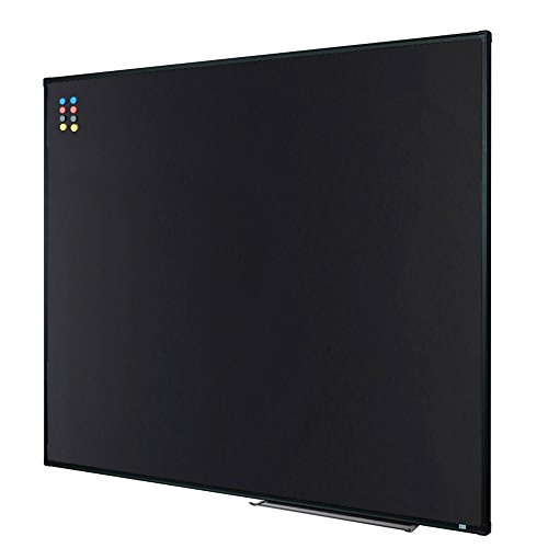 Lockways Magnetic Chalkboard black board - Bulletin blackboard 48 x 36, 4 x 3 Black Aluminium Frame Board For Home, School, Office, Black Aluminum marker tray, 8 Magnets