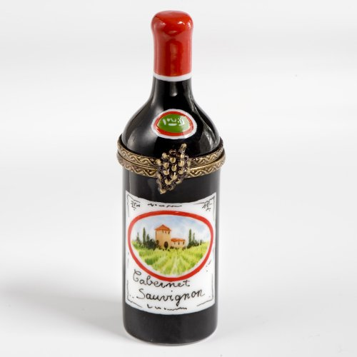 Limoges French Handpainted Cabernet Sauvignon Red Wine Bottle Box ()