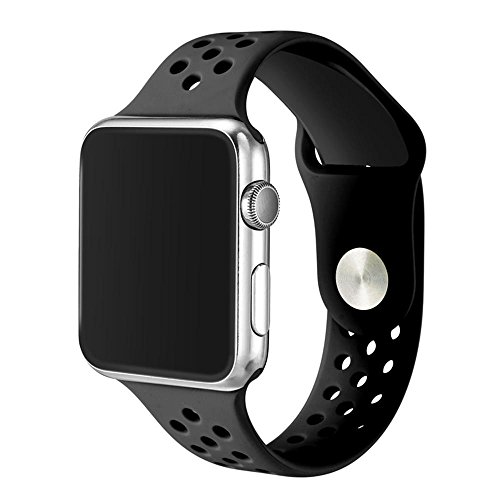 Price comparison product image Kobwa 38MM/42MM Watch Band for Apple Watch, Soft Silicone Sport Strap with Ventilation Holes Smart Watch Bracelet Replacement Bands For Iwatch Series 1 Series 2