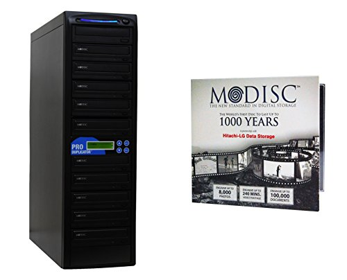Produplicator 1 to 10 24X M-Disc Support CD DVD Duplicator Bundle with 1 Pack M-DISC, Nero Essentials Burning Software (Standalone Duplication Tower)