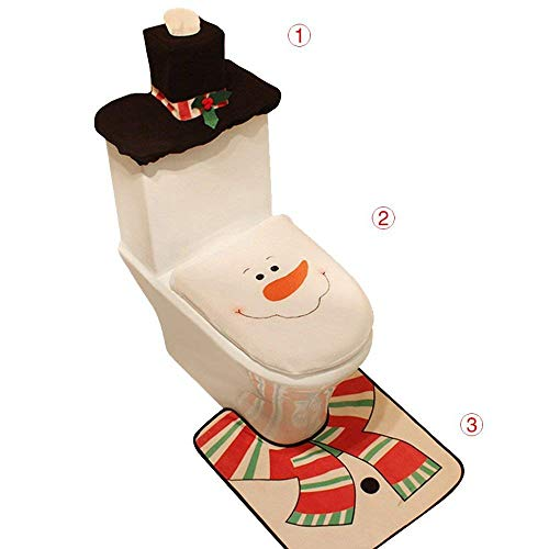 Auoinge Snowman Toilet Seat Cover Rug Set, Christmas Bathroom Set Plush Felt Lid Cover Tank Cover Rug, Cute Snowman Decoration Set of 3 ()