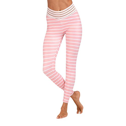 Striped Yoga Leggings, Women's High Waist Workout Pants Sports Gym Running Skinny Pants by E-Scenery (Pink, Large) ()