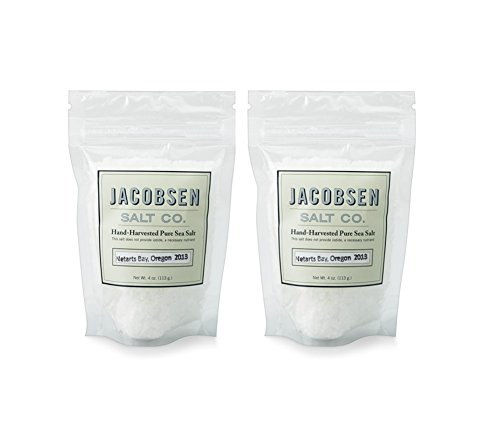 Hand Finishing (Jacobsen Salt Co - 4 oz Bag of Flake Finishing Sea Salt, Hand Harvested in Netarts Bay, ORMade in USA, 2 Pack)