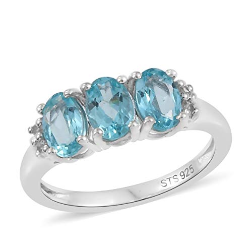 Statement Ring 925 Sterling Silver Platinum Plated Apatite Zircon Gift Jewelry for Women Size 8 Cttw 1.2 ()
