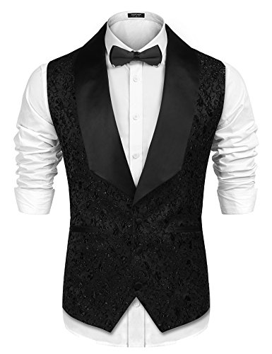 COOFANDY Men Floral Party Tuxedo Vest V-Neck Lapel Dress Suit Vest Waistcoat, Black, Large by COOFANDY