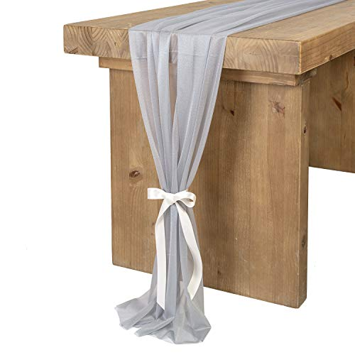 Ling's moment Gray Blue Sheer Table Runner 32 x 120 Inches Table Overlay Rustic French Chic Wedding Party Bridal Shower Decorations
