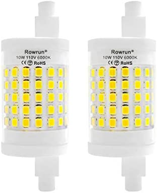 R7s Led Bulb 78mm Dimmable 6000k Daylight White 10w 100 Watt Equivalent 1000lm 75pcs 2835smd Ac 110v J Type T3 Halogen Light Replacement 2 Pack By Rowrun Amazon Com