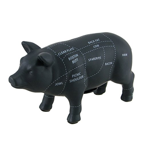 Zeckos Ceramic Toy Banks Large Black Ceramic Pig Shaped Coin Bank Butcher Chart Piggy Bank 7 1/4 Inch 12.5 X 7.25 X 4 Inches Black
