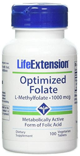 Life Extension Optimized Folate L-Methylfolate 1000 mcg Vegetarian Tablets 2 Pack (Difference Between Folic Acid And L Methylfolate)