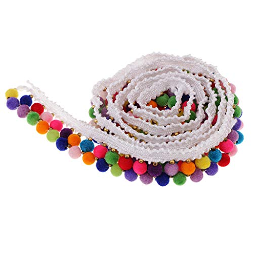 Tassel Ribbon - Baosity 1 Yard 20mm Colored Ball Bead Tassel Fringe Trim Ribbon Braid Lace Edging Trimmings for DIY Sewing Garment Decoration Handmade Craft Accessories - White