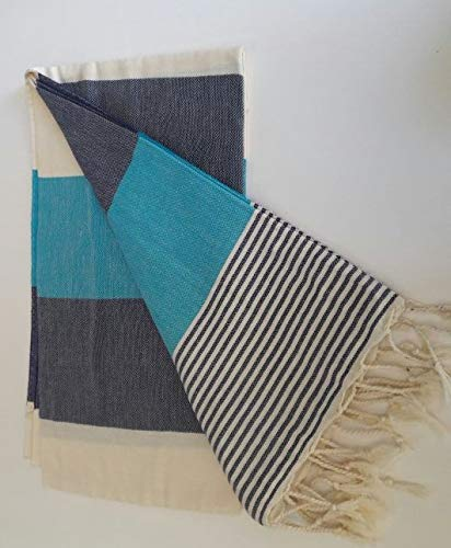 Paramus Turkish Cotton Bath Beach Spa Hammam Yoga Gym Yacht Hamam Towel Wrap Pareo Fouta Throw Peshtemal Pestemal Sheet Blanket (blue-navy blue)