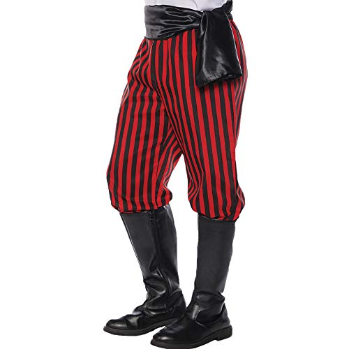 Red Pants Costumes - Underwraps Men's Costume Pirate Pants-Red/Black, Double