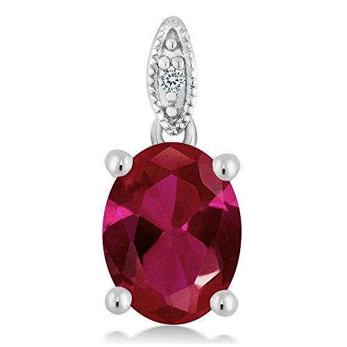 Women's Oval Red Created Ruby 10K White Gold Diamond Pendant 10k Gold Ruby Pendant