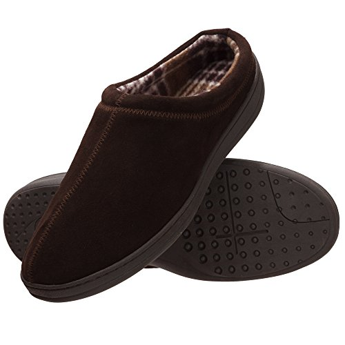 Rockport Leather Clogs - Rockport Memory Foam Suede Slip On Clog Indoor/Outdoor Men's Slippers (Size 10 Slipper, Brown Clog)