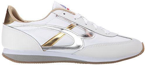 A partir de la puesta del sol Skechers Bobs la manera de la zapatilla de deporte White/silver/gold