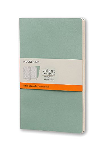 Moleskine Volant Journal (Set of 2), Large, Ruled, Sage Green, Seaweed Green, Soft Cover (5 x 8.25)