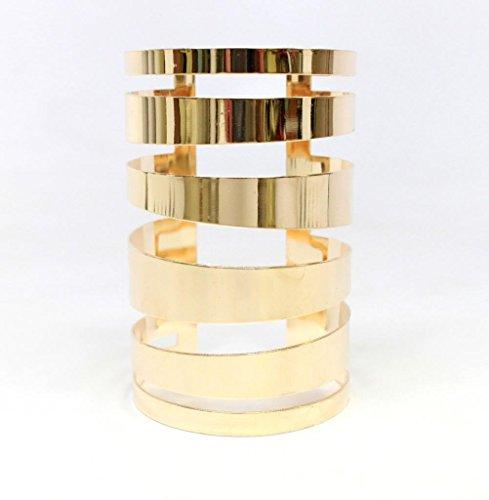 Lux Accessories Wide Cutout Geo Arm - Gold Cuff Wide Bracelet