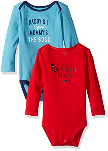 Carters 2 Pack Bodysuits - Carter's Boys' 2-Pack Long Sleeve Bodysuit, Gentleman/Mom Boss, 3 Months