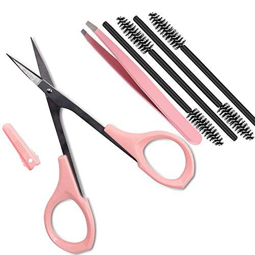 "4"" Curved Craft Scissors Stainless Steel Unisex Eyebrow Kit Eyebrow Scissors, Slant Tweezers And Eyebrow Brush for Eyebrow Eyelash Extensions"