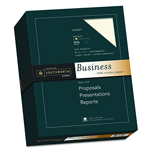 Southworth 100% Cotton Business Paper, 8.5 x 11 inches, 24 lb, Ivory, 500 Sheets per Box (31-126-16)