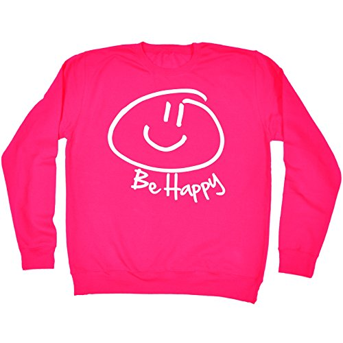 - 123t Be Happy ... Smiley Face Design (M - LIPSTICK PINK) SWEATSHIRT