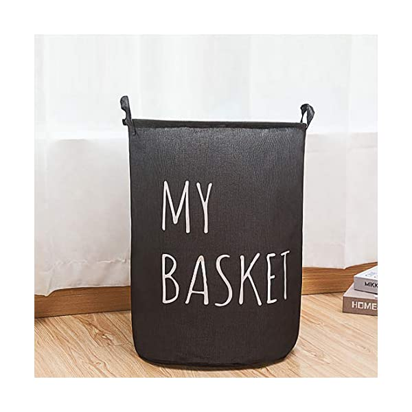 Extra Large Collapsible Laundry Storage Basket Hamper, Round Drawstring Waterproof Home Organizer Bin for Clothing,Toys,Nersury Laundry Hamper (Black Style1)
