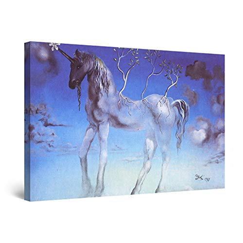 (STARTONIGHT Canvas Wall Art - Salvador Dali Unicorn, Reproduction Framed 32 x 48 Inches)