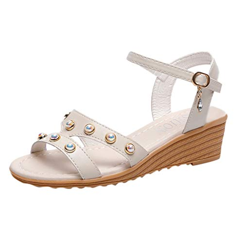 d1fb918c19a JJLIKER Women Pearl Chunky Platform Wedges Sandals Ankle Buckle Strap Low  with Shoes Fashion Non-