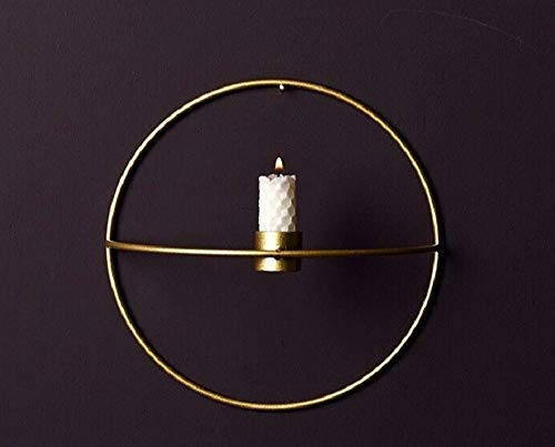 - ChezMax Metal Candelabra Wall Hanging Candlestick Succulent Holder Flower Vase Geometric Ornaments 3D Circle Wall Decoration 7.5'' Gold