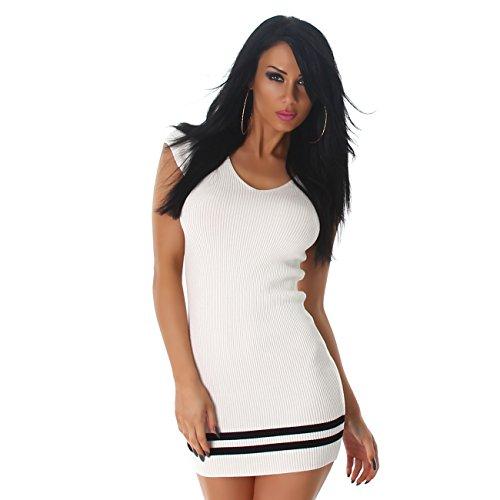 Mujer canalé vestido Mini vestido manga corta rayas Cuello En V Funda Cóctel Colores Nuevo blanco