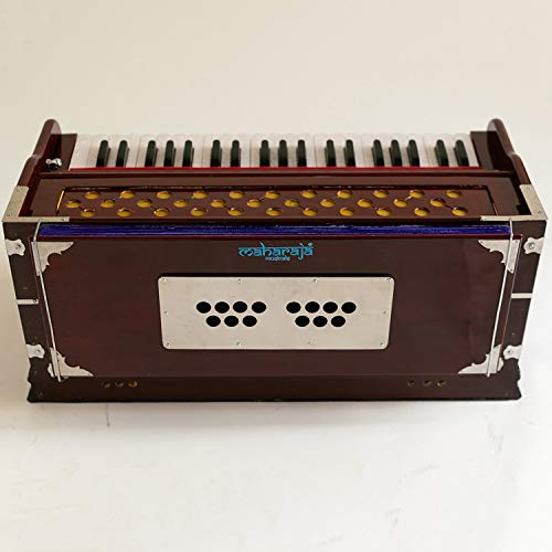 Harmonium Musical Instrument, Maharaja Musicals, In USA, 9 Stops, 3 1/2  Octave, Double Reed, Coupler, Dark Mahogany, Standard, Padded Bag, A440  Tuned,
