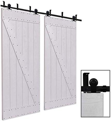 CCJH 9.6FT-292cm Techo Montado Herraje para Puerta Corredera Kit de Accesorios para Puertas Correderas Rueda Riel Juego para Dos Puertas de Madera: Amazon.es: Bricolaje y herramientas