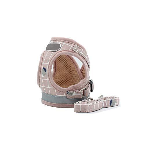 Encounter_meet Soft Mesh Dog Cat Harness Set Breathable Puppy Vest for Small pet Medium Dogs Teddy Reflective Walking Lead Leash Sets,NE001,S]()