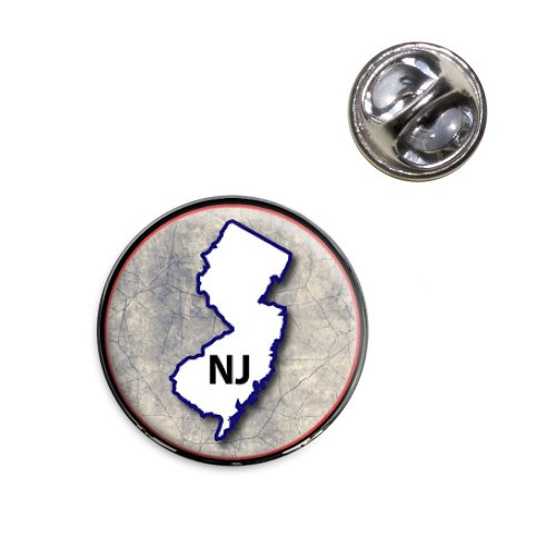 New Lapel Pin (New Jersey NJ State Outline on Faded Blue Lapel Hat Tie Pin Tack)