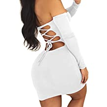 GOBLES Women Sexy Off Shoulder Back Lace Up Bodycon Mini Club Dress