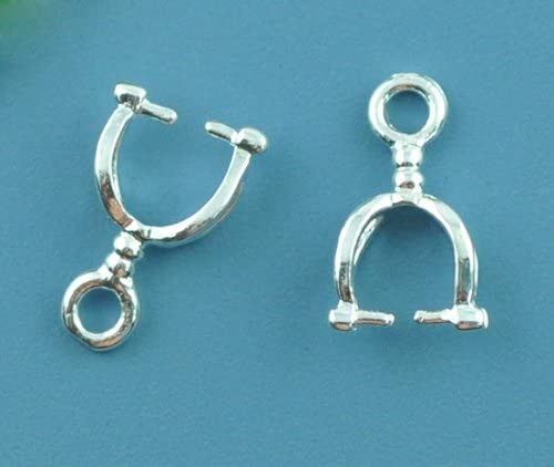 20 Pinch Clip Pendant Bails Silver Plated 12mm x 7mm J07501A