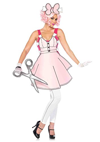 Paper Doll Halloween Costume For Adults (5pc. Paper Doll Romper Foam Costume Bundle with Pink Shorts)