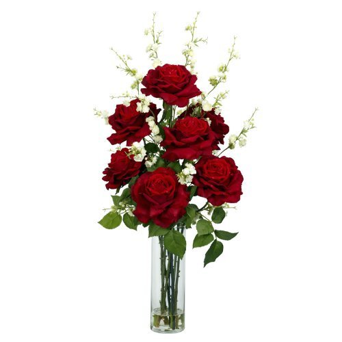 Nearly Natural 1203 Roses with Cherry Blossoms Silk Flower Arrangement, Red by Nearly Natural by Nearly Natural
