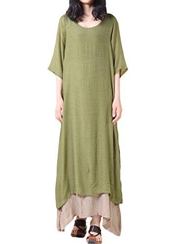 Vogstyle - Vestido - para mujer Verde Green-short sleeve M