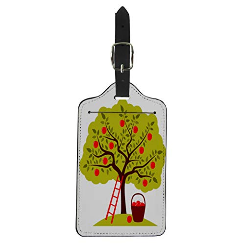 Semtomn Luggage Tag Brown Apple Tree Ladder and Basket of Apples Green Suitcase Baggage Label Travel Tag Labels